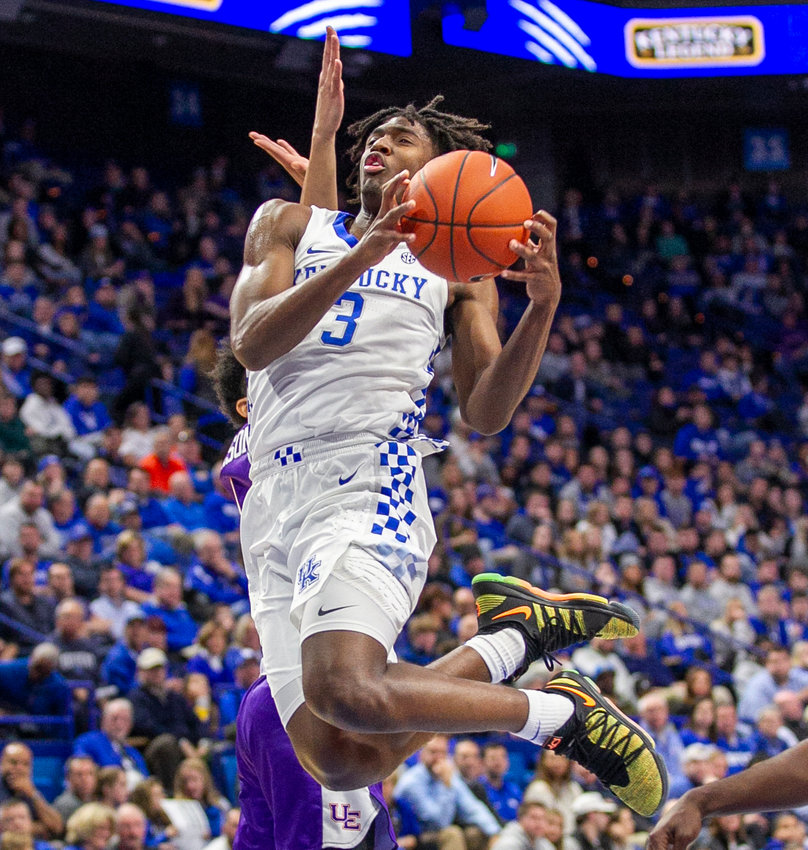 Kentucky guard Tyrese Maxey goes for a shot in the Wildcats' loss to Evansville last week. Kentucky takes on Utah Valley Monday night at Rupp Arena. (Kentucky Today/Tammie Brown)