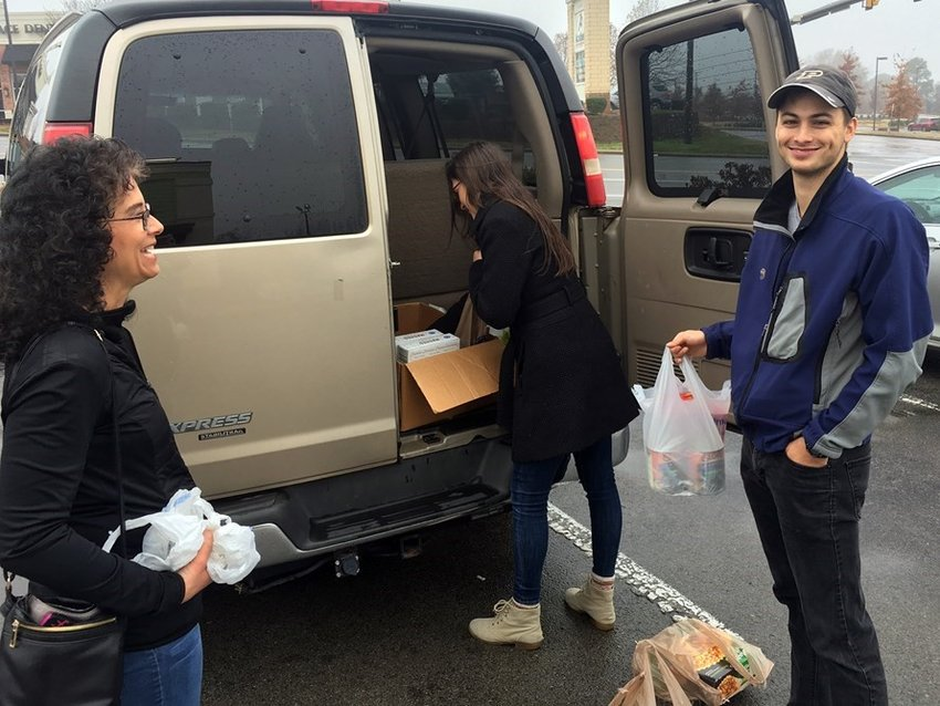 Members of Immanuel Church in Nashville prepare to deliver a Thanksgiving meal to a local family. (Submitted photo)