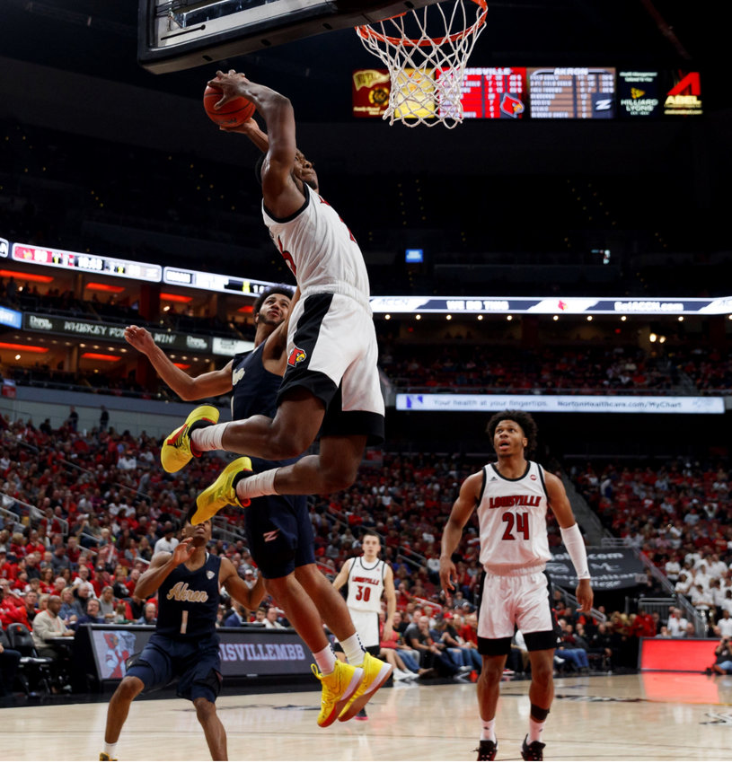Steven Enoch soars to the basket against Akron. Louisville plays WKU on Friday with a potential No. 1 ranking at stake. (Louisville Athletics photo)