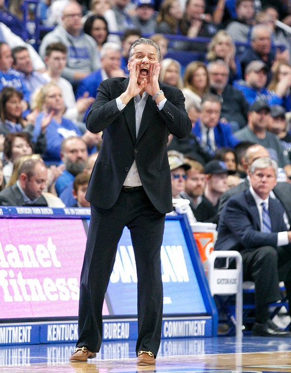 Coach John Calipari shouts instruction in Kentucky's win over UAB last year. The Wildcats will play the Blazers again    this season. (Kentucky Today/Tammie Brown)
