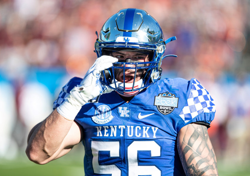 Kash Daniel finished his Kentucky career with a team-high eight tackles against Virgnia Tech on Tuesday. (UK Athletics photo)