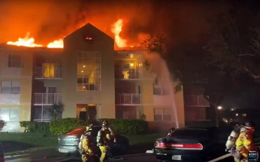 A fire at the Le Club Apartments in South Miami Dec. 11 left 24 families homeless, including church planters John Michael and Brittany Gibson. Screen capture from CBS Miami