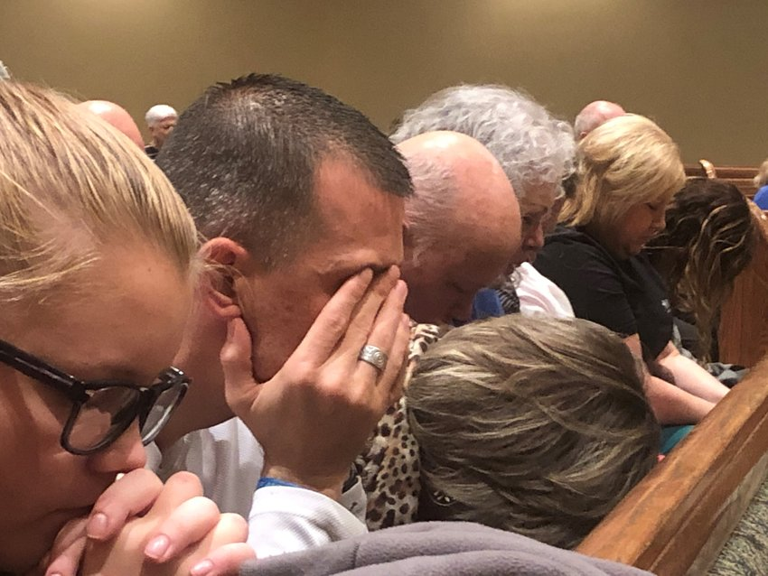 Nearly 300 came to pray for the community in northeastern Kentucky on Wednesday at First Baptist Church Russell. (Kentucky Today/Mark Maynard)
