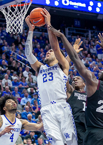 EJ Montgomery takes it to the basket against Mississippi State earlier this year. Montgomery declared for the NBA Draft on Wednesday. (Kentucky Today/Tammie Brown)