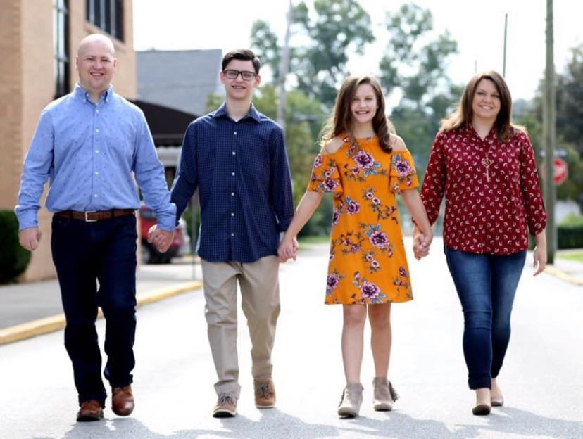 Chad Fugitt  with wife Jennifer and children Caleb and Audrey. The KBC president has accepted the pastorate at Orsmby Heights Baptist Church in Louisville.