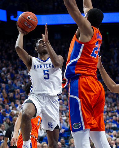 Immanuel Quicikley drives against Florida on Saturday. The sophomore guard scored 25 in a 65-59 win. (Kentucky Today/Tammie Brown)