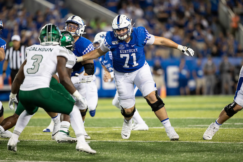 Logan Stenberg was selected in the fourth round by the Detroit Lions on Saturday and started every game during the past three seasons for the Wildcats. (UK Athletics Photo)