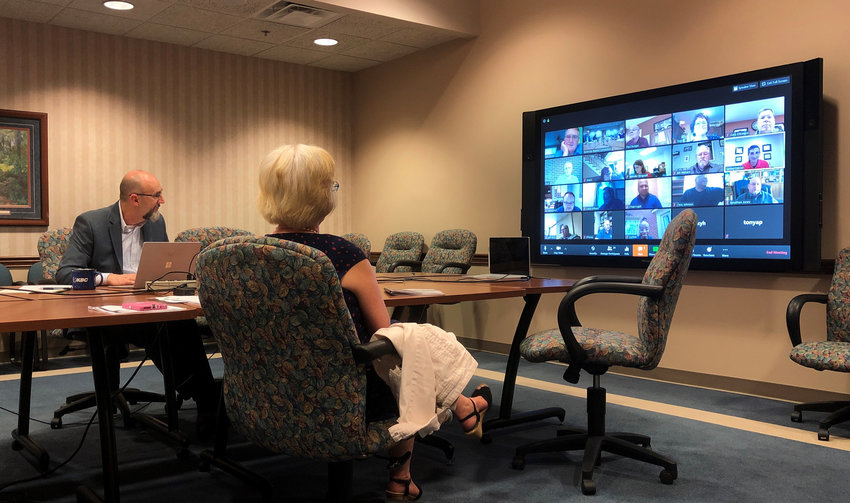 Kentucky Baptist Convention Executive Director-Treasurer Todd Gray and Accounting Director and Controller Becky Harris participate in a virtual meeting of the KBC Business and Finance Committee. (Kentucky Today/Brandon Porter)