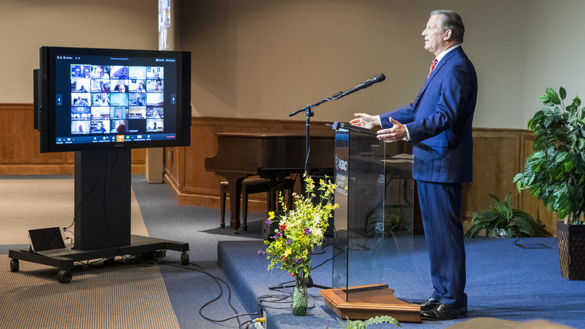 French Harmon, pastor of FBC Somerset, speaks at the KBC Mission Board Meeting in Louisville on May 3. Harmon was elected to become the next president of the Kentucky Baptist Foundation beginning July 1. (Kentucky Today/Brandon Porter)