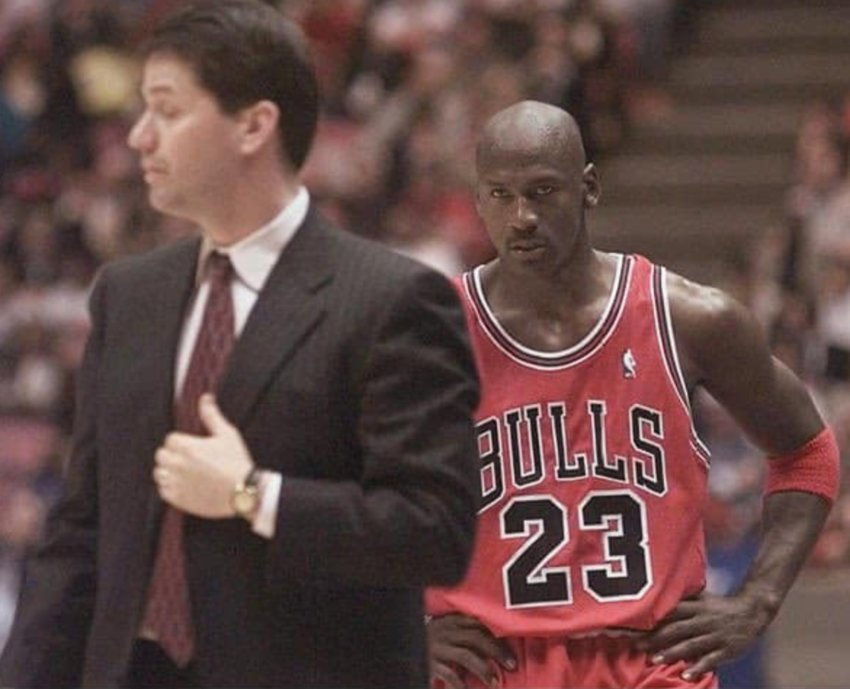 Michael Jordan wasn't happy in this file photo during a game against John Calipari's Nets in the late 1990s.