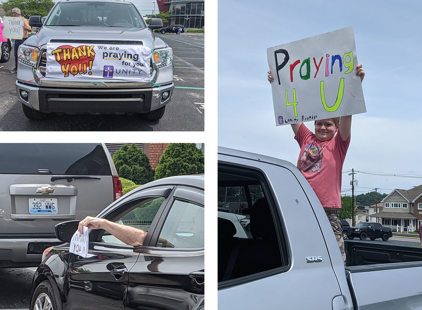 Unity Baptist Church had a 24-car prayer parade on Sunday. They visited parking lots of a local hospital, police station and fire station to thank first responders for their service during the pandemic. Below are other photos from the parade, (Kentucky Today/Tessa Landrum).