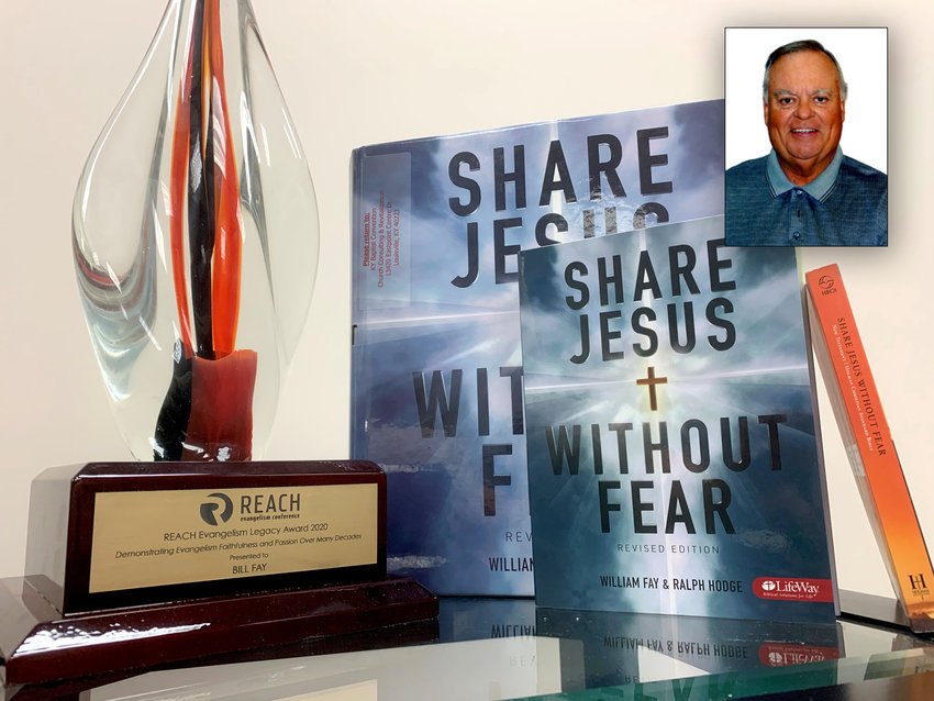 "Evangelist Bill Fay, the author of ""Share Jesus Without Fear,"" received the first-ever Reach Evangelism Legacy award from Kentucky Baptist Convention. Fay's photograph is inset in this image of his award and the re-released Bible study version of his book. (Kentucky Today/Robin Cornetet)"