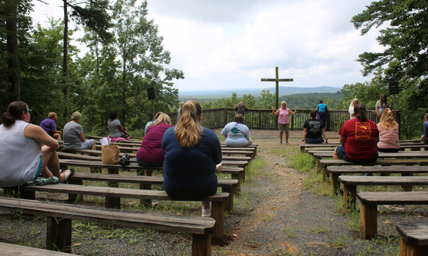 Camp Mundo Vista's outdoor chapel offers a panoramic view of North Carolinas Uwharrie Mountains. (WMU/Pam Henderson)