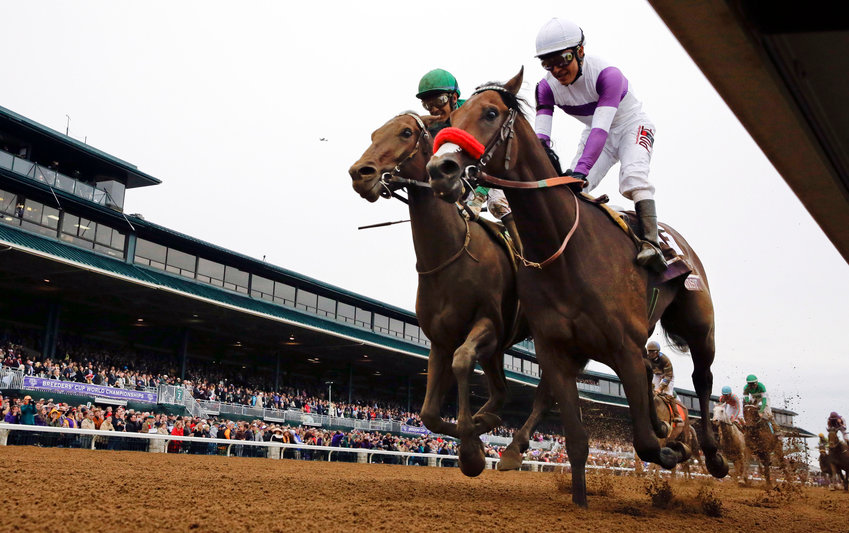 In this Oct. 31, 2015, file photo, Nyquist, front right, with Mario Gutierrez up, finishes ahead of Swipe, left, with Victor Espinoza up, to win the Breeders' Cup Juvenile horse race at Keeneland race track in Lexington, Ky. The Breeders' Cup in November will be held without spectators, joining the Triple Crown races in having only essential personnel and participants on hand because of the coronavirus pandemic. The world championships are set for Nov. 6-7, 2020, at Keeneland. (AP Photo/Brynn Anderson, File)