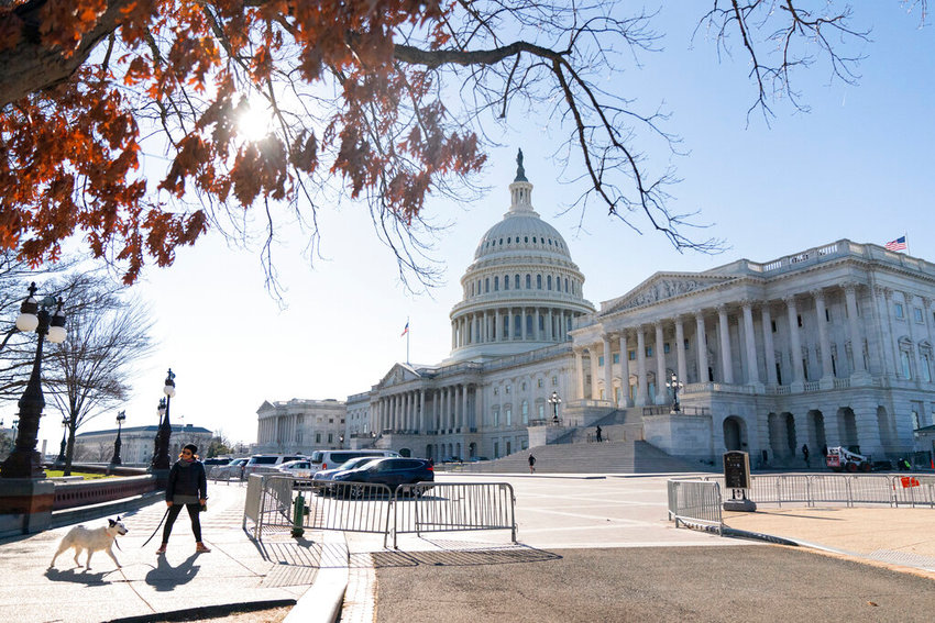 The Capitol is seen through tree branches, Tuesday, Dec. 29, 2020, in Washington. (AP Photo/Jacquelyn Martin)