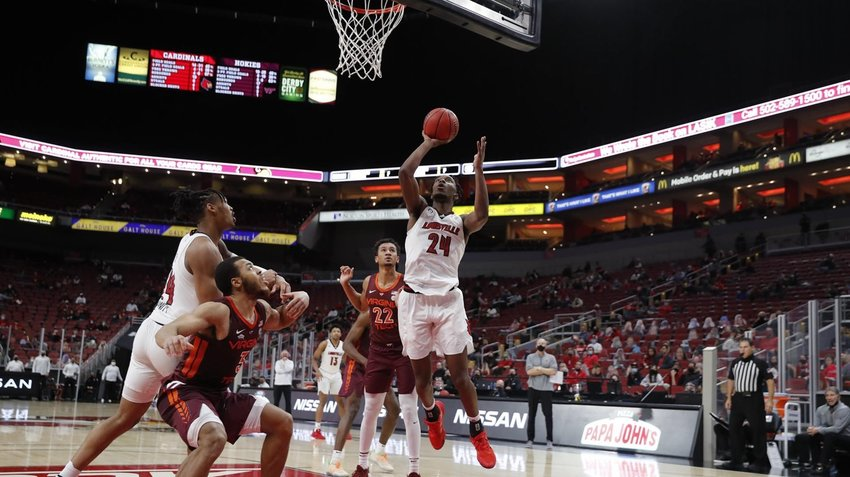 Jae'Lyn Withers (24) collected 16 points and 12 rebounds as Louisville defeated Virginia Tech, 73-71, Wednesday night. (Louisville Athletics)