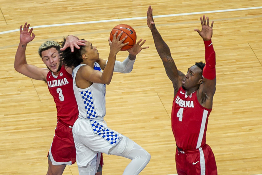 Kentucky's Brandon Boston Jr. is fouled going to the basket against Alabama on Tuesday, Jan. 12, 2021 in Lexington, Ky (Kentucky Today/Tammie Brown)