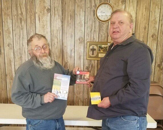 Kelly McCowan, left, and Dale Fleener have been working the Gospel to Every Home through Big Spring Baptist Church in Brandenburg since September. They estimate having engaged more than 300 people. (Submitted photo)
