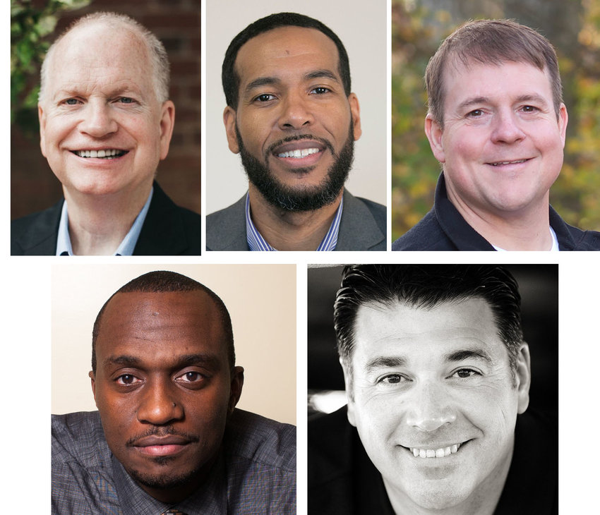 Speakers for the REACH 2021 conference include top row, from left, Danny Akin, Nate Bishop and Sam Greer. Bottom row, Dhati Lewis and James Emery White. The conference is March 15-16 at Hillvue Heights in Bowling Green, Ky.