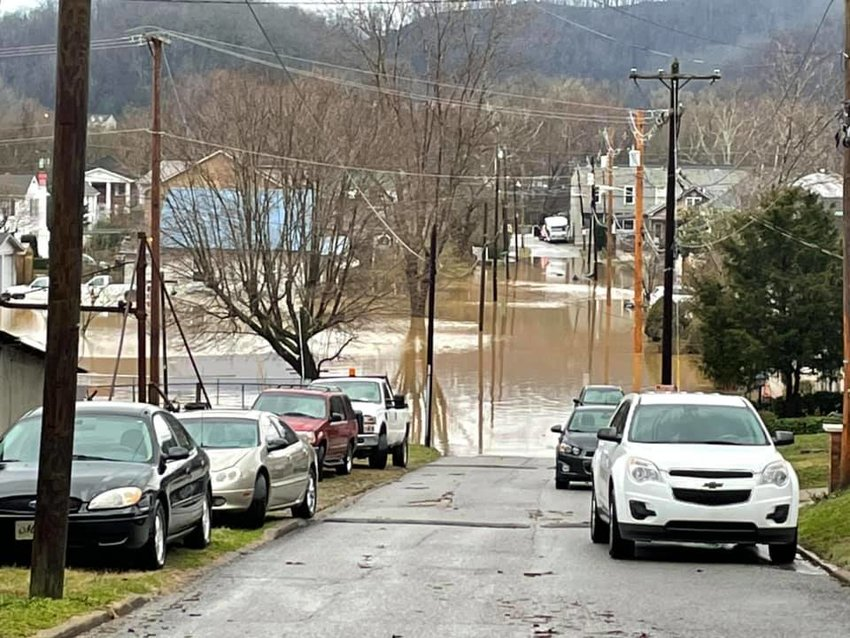 Looking down Preston Street in Paintsville where the Paint Creek has risen. Eastern Kentucky was hard hit by flooding from Sunday's heavy rainfall. (Photo by J.R. VanHoose)