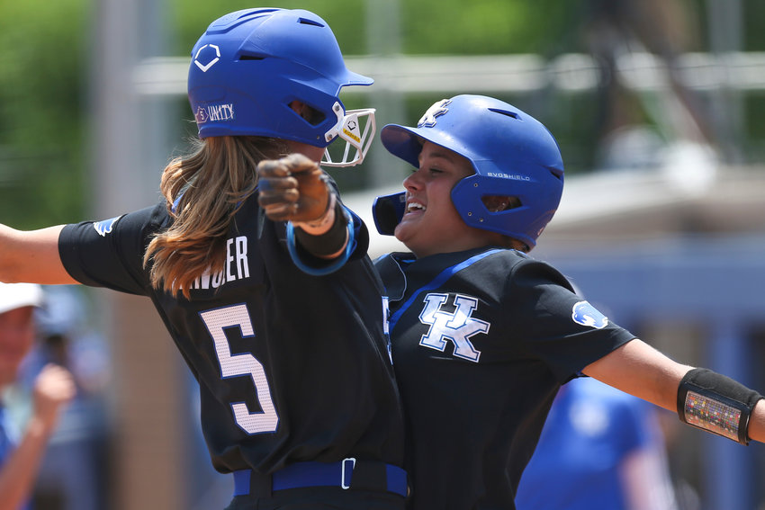 Tatum Spangler and Lauren Johnson celebrate after the Wildcats defeated Notre Dame in the first of two games Sunday at Joe Cropp Stadium in Lexington. (Photo by Grace Bradley   UK Athletics)