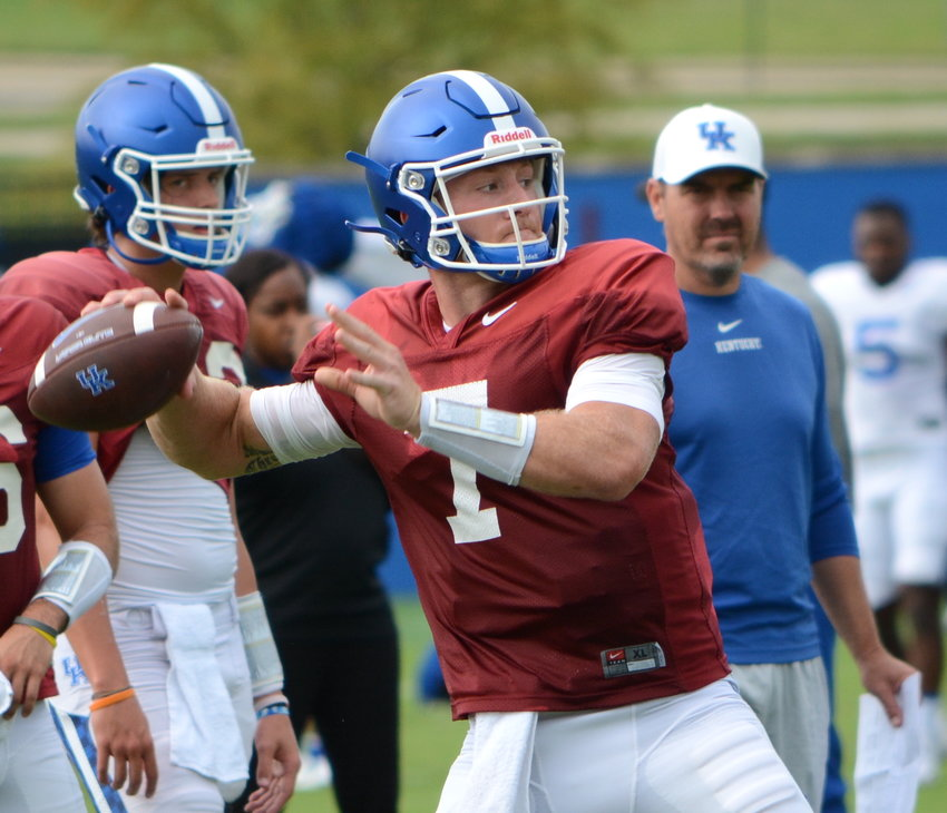 Will Levis launches a throw during an open practice for media members Tuesday in Lexington. (Kentucky Today/Keith Taylor)