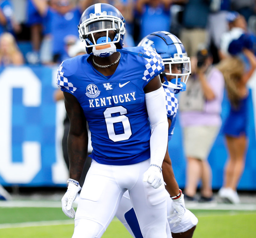 Josh Ali celebrates after making a catch in Kentucky's win over ULM Saturday at Kroger Field.