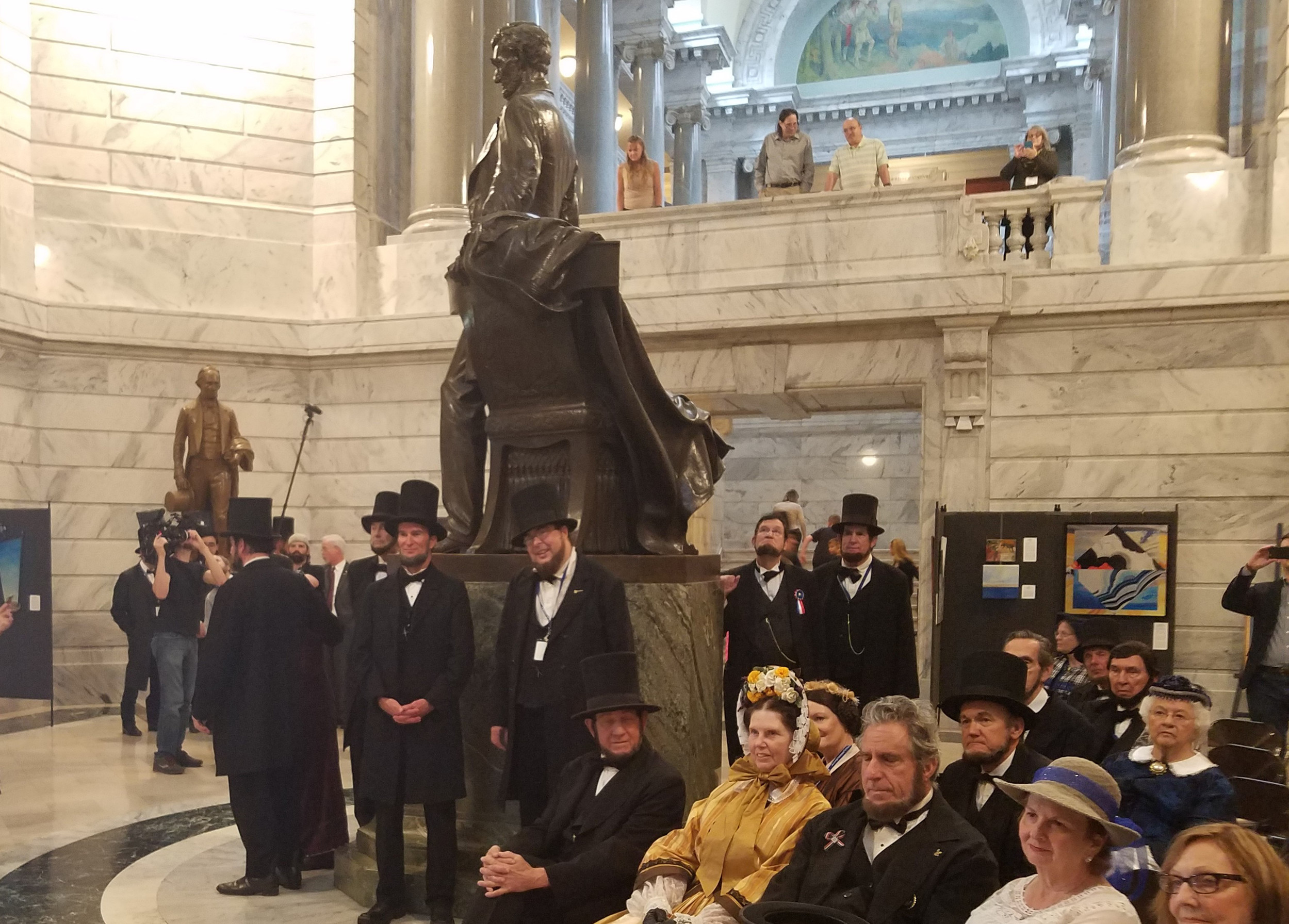 More than 25 presenters in full Abraham Lincoln costumes, along with around a dozen Mary Todd Lincolns, toured the Capitol on Friday, April 21, as part of the 23rd annual convention of Lincoln presenters. (Kentucky Today/Tom Latek)