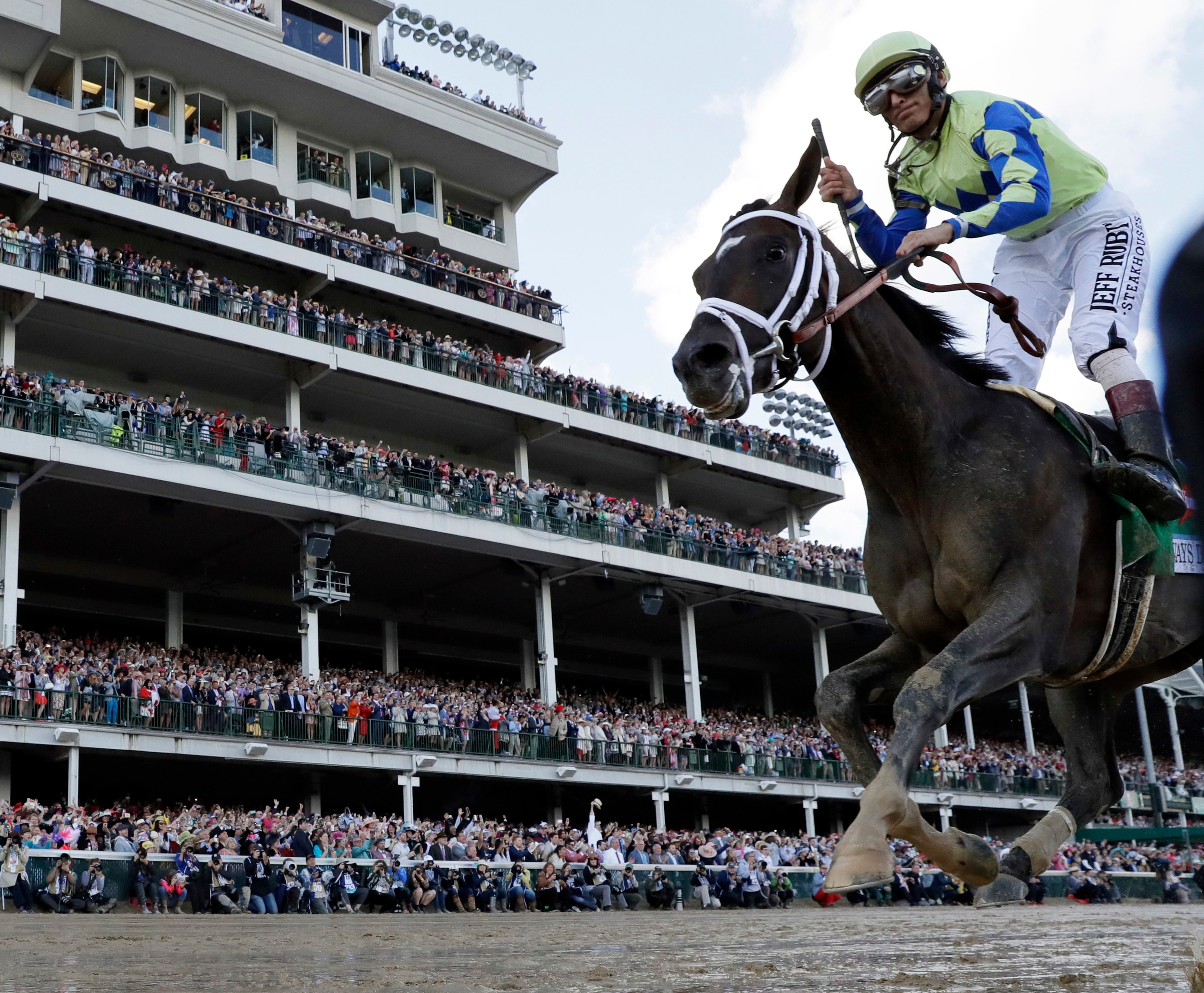 John Velazquez rides Always Dreaming to victory in the 143rd running of the Kentucky Derby horse race at Churchill Downs Saturday, May 6, 2017, in Louisville, Ky. (AP Photo/David J. Phillip)