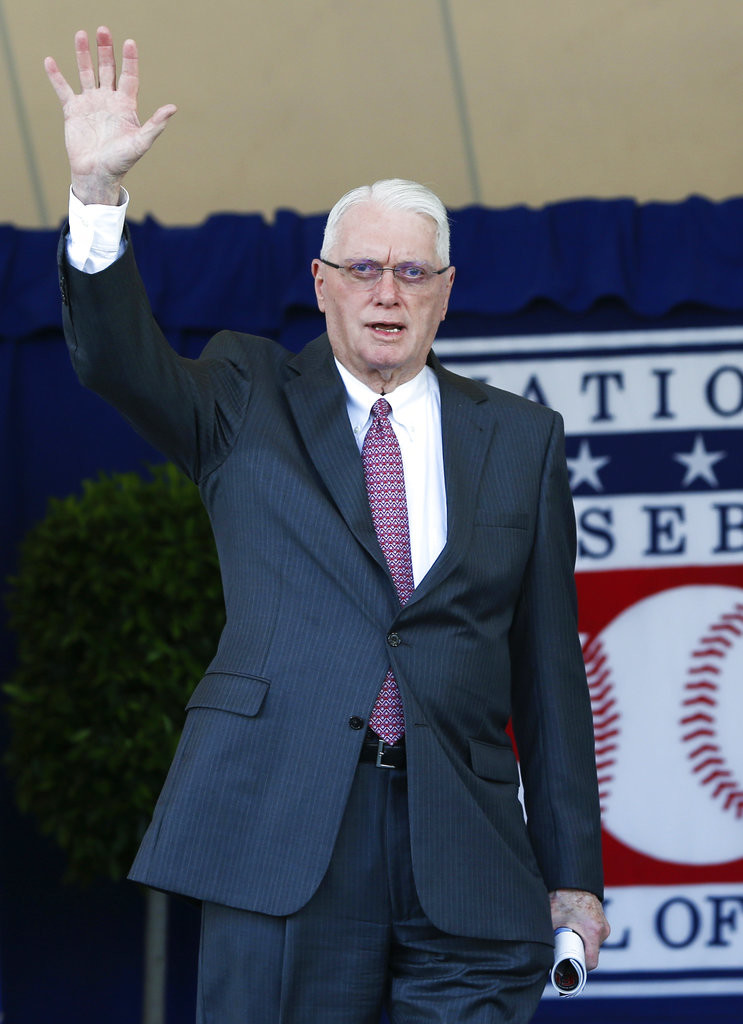 In this Sunday, July 24, 2016, file photo, National Baseball Hall of Famer Jim Bunning arrives for an induction ceremony at the Clark Sports Center in Cooperstown, N.Y. Hall of Fame pitcher Bunning, who went on to serve in Congress, has died. Bunning's death Friday, May 26, 2017, was confirmed by Jon Deuser, who served as chief of staff when Bunning was in the Senate. (AP Photo/Mike Groll)