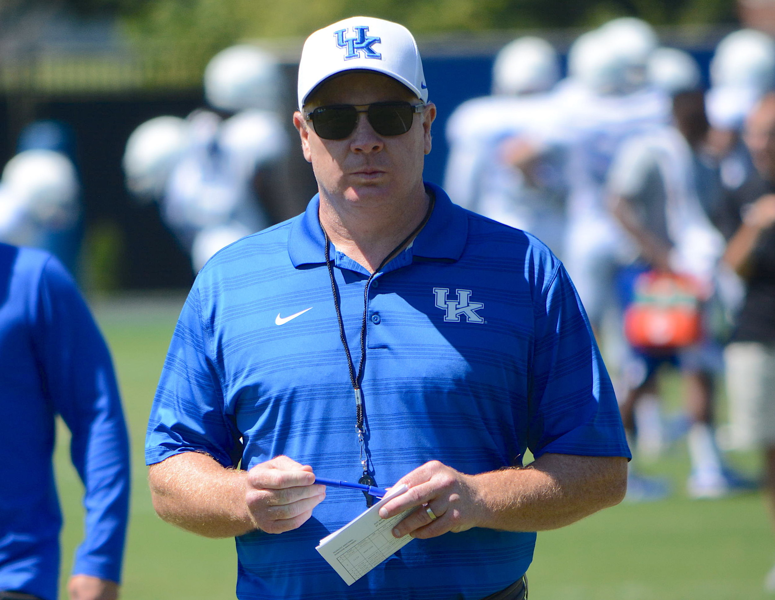 Mark Stoops and the Wildcats had their first scrimmage of fall workouts Saturday at Kroger Field and the Kentucky coach said the effort by his team produced mixed results. (Keith Taylor/Kentucky Today)