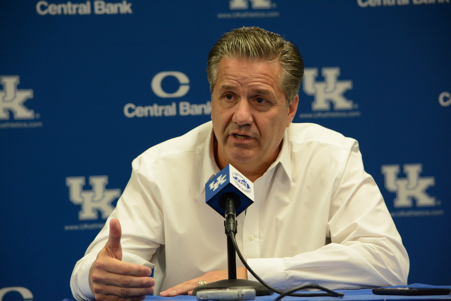 Kentucky coach John Calipari answers a question during the team's annual media day Thursday at Memorial Coliseum Big Blue Madness is set for Friday at Rupp Arena. (Keith Taylor/Kentucky Today)