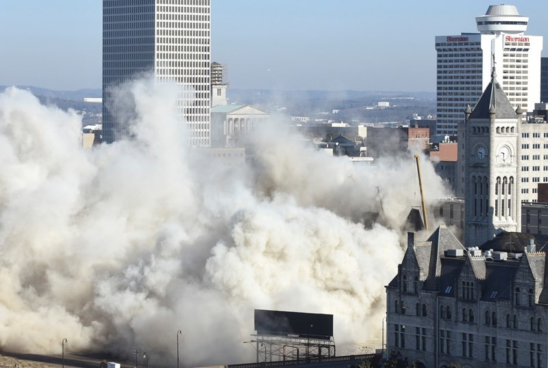 Dust rises after the LifeWay building is demolished in Nashville. (Baptist Press photo)