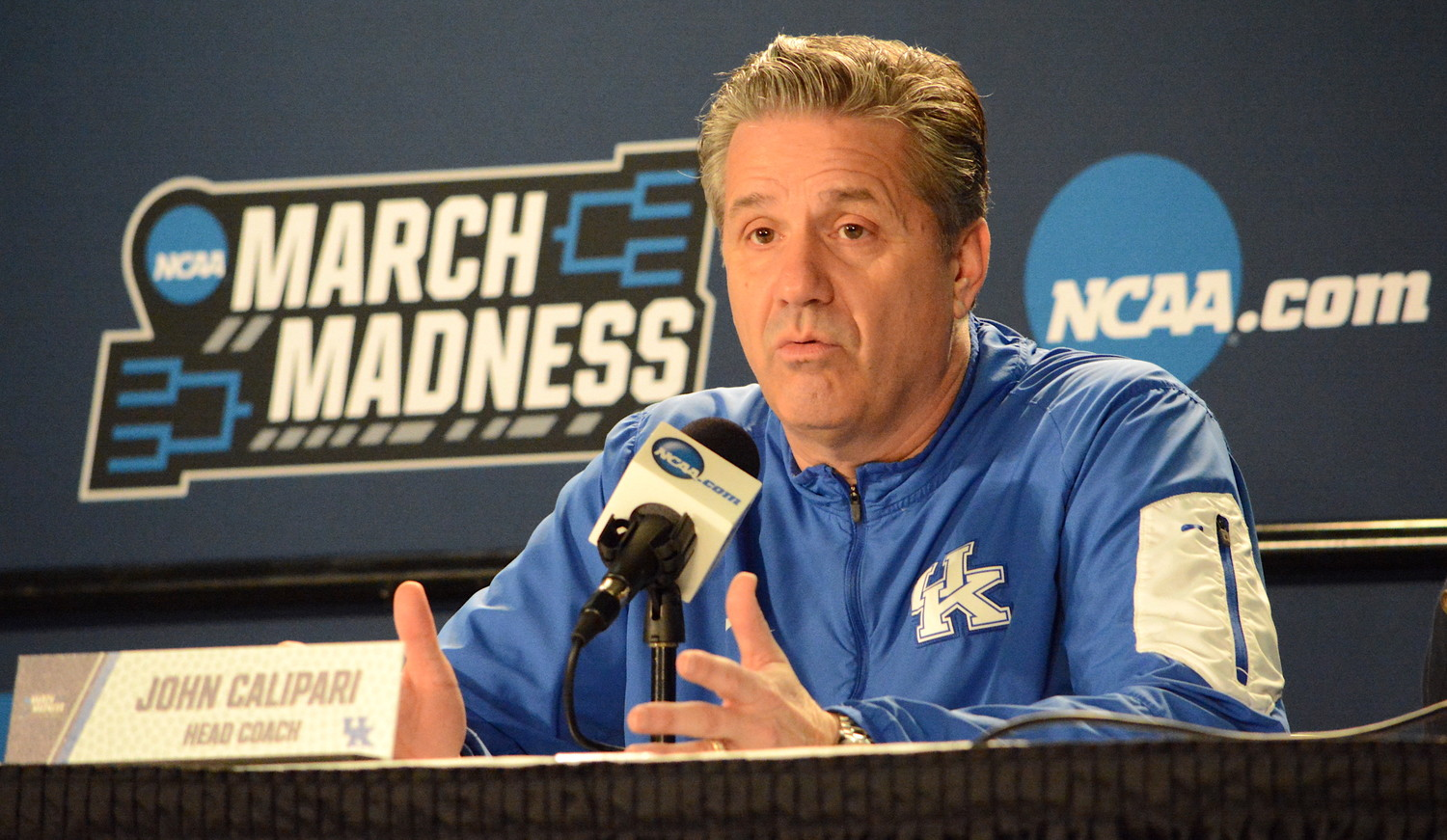 Kentucky coach John Calipari answers a question during a press conference Friday at Taco Bell Arena. The Wildcats take on Buffalo in the second round of the NCAA Tournament Saturday in Boise. (Kentucky Today/Keith Taylor)