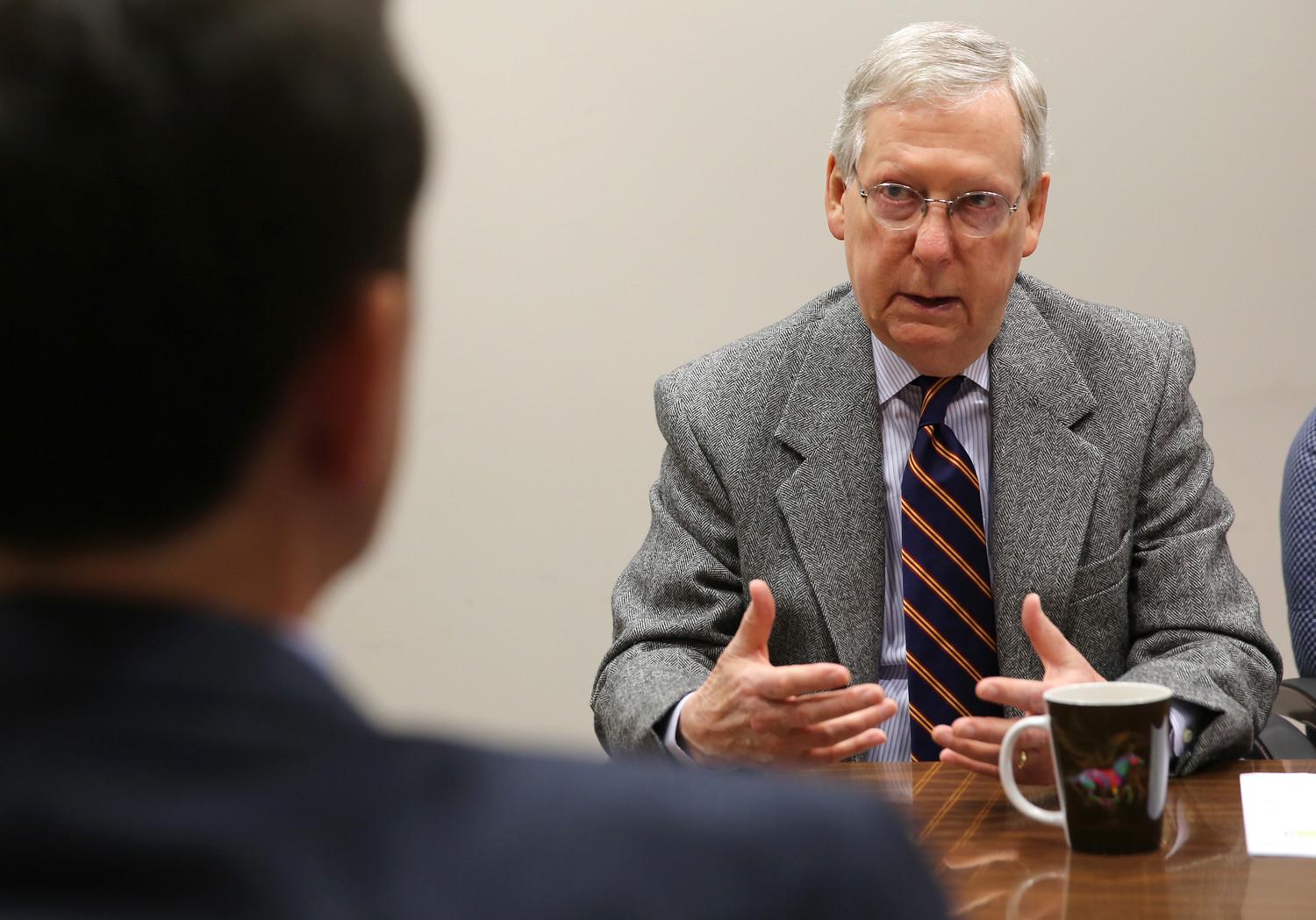 Senate Majority Leader Mitch McConnell talks with members of the Kentucky Today editorial board in Louisville, Ky., on Tuesday April 3, 2018. He said the GOP is facing contrary political winds in this year's elections. (Kentucky Today/Robin Cornetet)