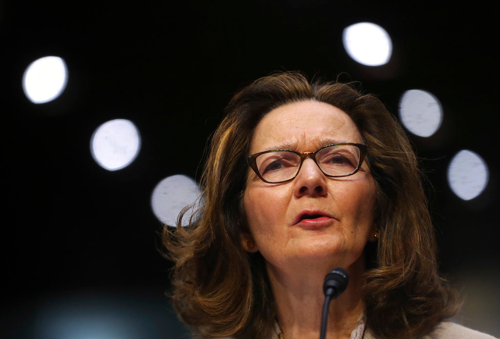 "In this May 9, 2018 photo, CIA nominee Gina Haspel testifies during a confirmation hearing of the Senate Intelligence Committee, on Capitol Hill in Washington. In a letter Tuesday to the top Democrat on the Senate Intelligence Committee, Haspel says she would ""refuse to undertake any proposed activity that is contrary to my moral and ethical values.""  (AP Photo/Pablo Martinez Monsivais)"