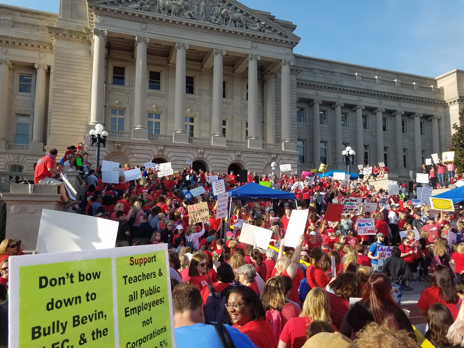 Teachers protest the pension overhaul at the Capitol in April. A Franklin Circuit judge has ruled the law unconstitutional. (Kentucky Today / Tom Latek)