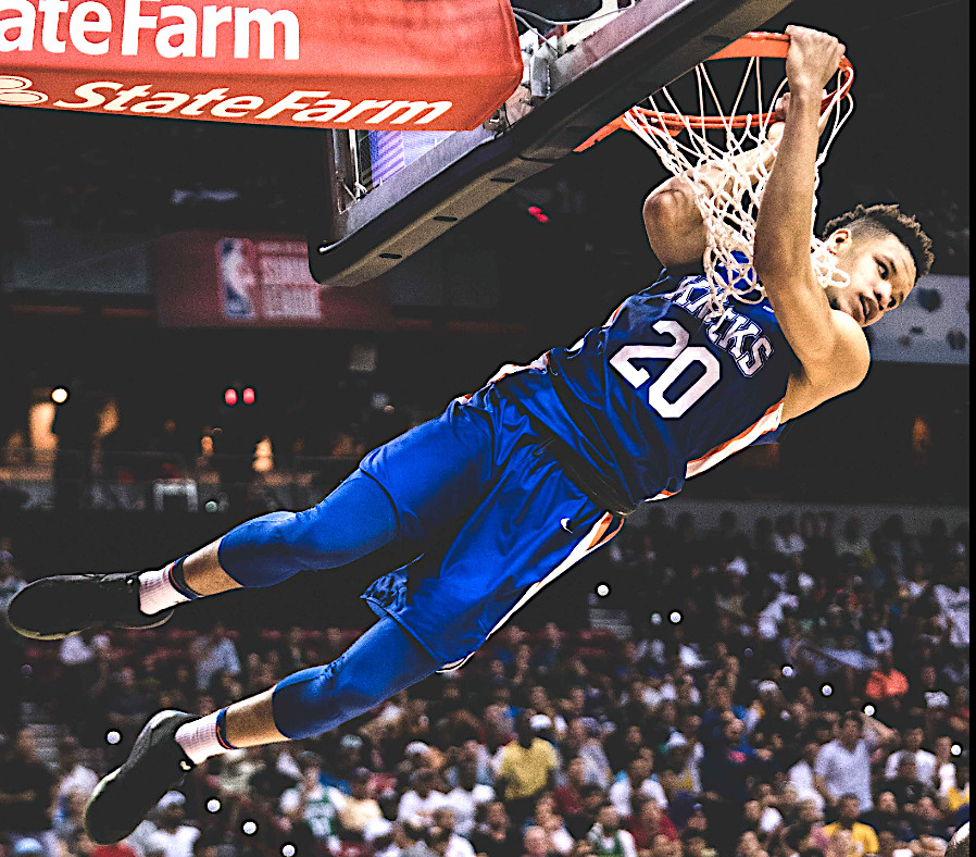 Former Kentucky star Kevin Knox slams home a dunk during an NBA Summer League game last weekend in Las Vegas. Knox was impressive in his first game as a member of the New York Knicks. (New York Knicks Photo)
