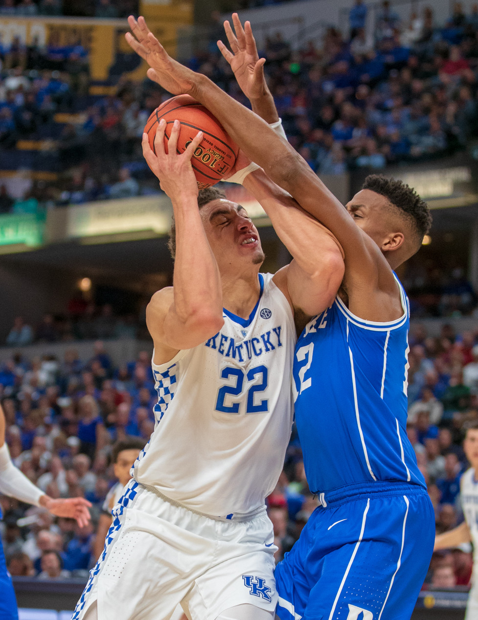 Reid Travis goes up for a shot in Kentucky's loss to Duke Tuesday night in Indianapolis. The Wildcats host Southern Illinois Friday night at Rupp Arena. (Kentucky Sports Report LLC/Jeff Houchin)
