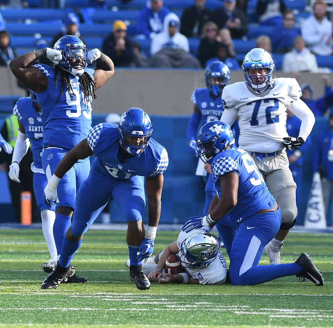 Kentucky's Josh Allen (41) celebrates after sacking Brent Stockwell for a loss of seven yards on a fourth-down play to stop Middle Tennessee last month. Allen announced Friday that he will play in the Citrus Bowl on New Year's Day. (Kentucky Today/Bill Thiry)