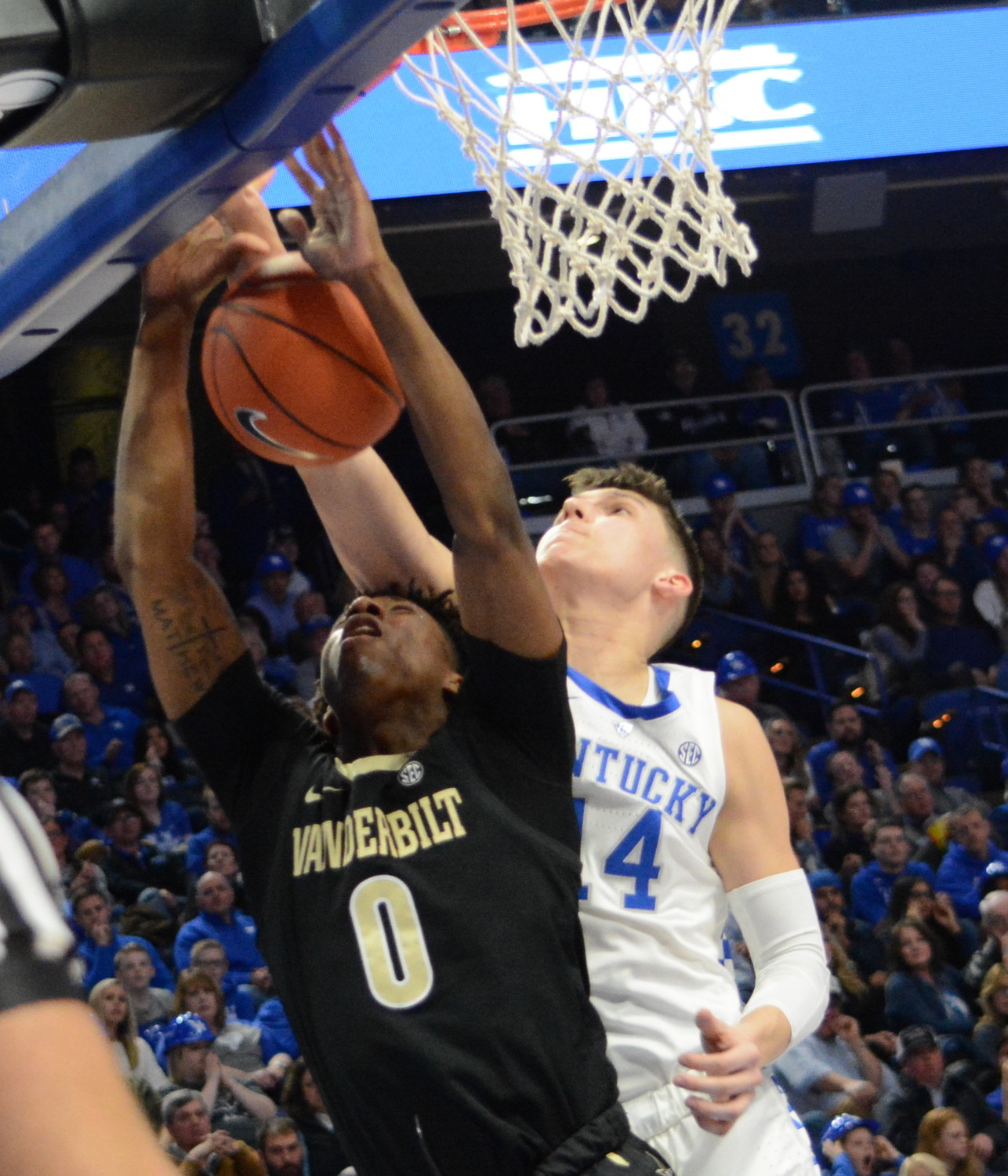 Kentucky guard Tyler Herro blocks a shot in a win over Vanderbilt earlier this month. Herro was named Southeastern Conference Freshman of the Week Monday. (Kentucky Today/Keith Taylor)