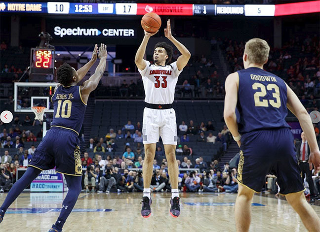 Jordan Nwora collected 24 points and nine rebounds in Wednesday night's win over Notre Dame in the ACC Tournament. The Cardinals play No. 3 North Carolina on Thursday at 7 p.m. (Louisville Athletics photo)