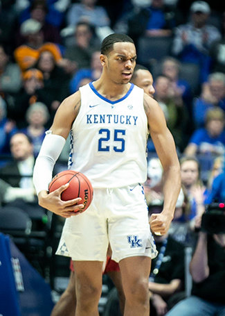 PJ Washington flexes against Alabama after being fouled. Washington was wearing a walking boot as the Wildcats departed for Jacksonville Tuesday. (Kentucky Today/Tammie Brown)
