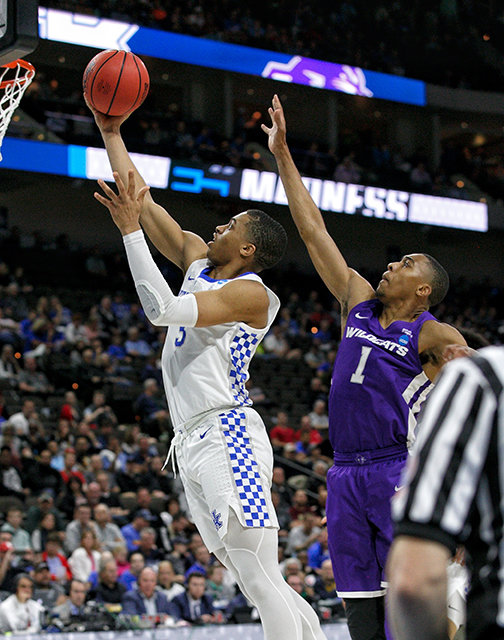 Kentucky's Keldon Johnson soars to the basket for two of his 25 points. Kentucky plays Wofford at 2:40 p.m. Saturday in Jacksonville. (Kentucky Today/Tammie Brown)