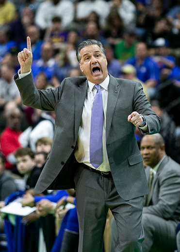 Coach John Calipari calls out a play from the sidelines Saturday. (Kentucky Today/Tammie Brown)
