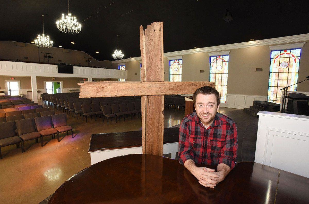 Pastor Kenny Rager inside the recently renovated sanctuary of Life Community Church on Tuesday at 1102 Hall Street.