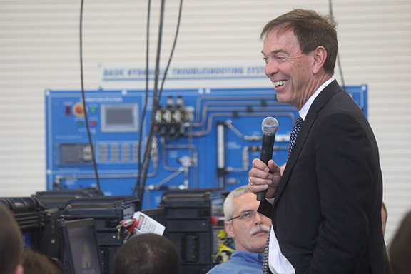 Braidy Industries CEO Craig Bouchard smiles as he talks to potential future Braidy employees last month. The company announced a possible $200 million investment partnership with a prime aluminum supplier on Monday. (Kentucky Today/Mark Maynard)