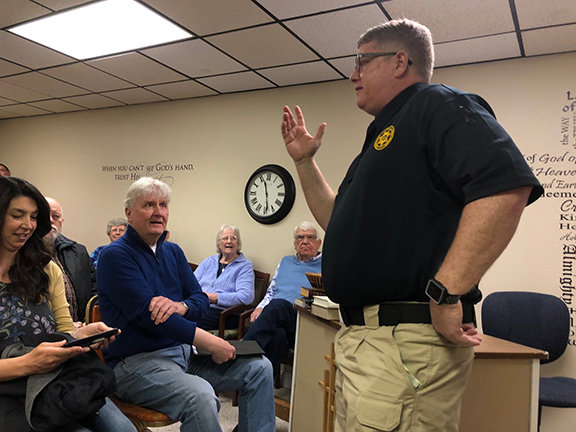 Boyd County Jailer Bill Hensley talks to a group at Unity Baptist Church. Hensley said he followed God's leading in running for office and eventually winning the election to lead the troubled jail. (Kentucky Today/Mark Maynard)