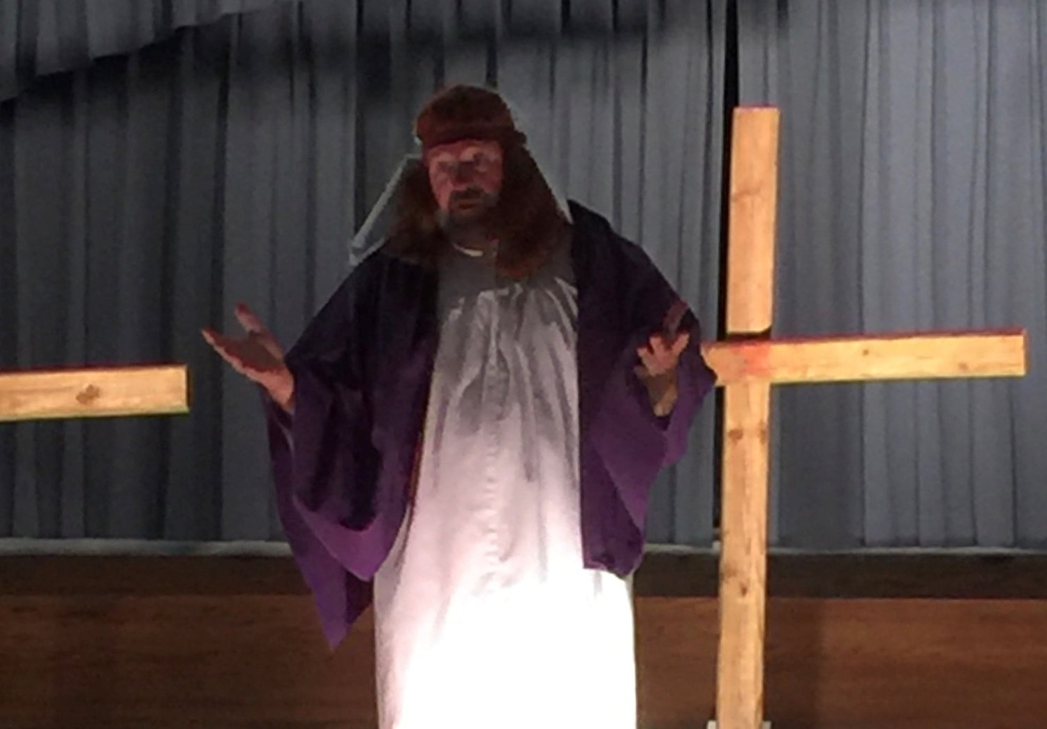 Jim Forrest, the pastor of Danleyton Baptist Church in rural Greenup County, portrays Jesus in a play that he wrote. The first production was 40 years ago, in 1979. The church has done it every year since 2007. (Submitted photo)