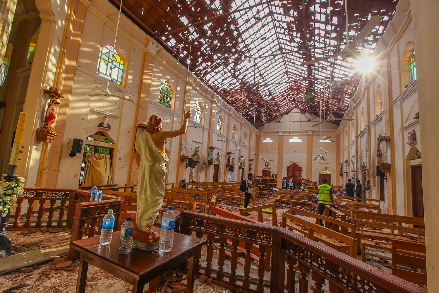 A view of St. Sebastian's Church damaged in blast in Negombo, north of Colombo, Sri Lanka, Sunday, April 21, 2019.  More than two hundred were killed and hundreds more hospitalized with injuries from nine blasts that rocked churches and hotels in and just outside of Sri Lanka's capital on Easter Sunday, officials said, the worst violence to hit the South Asian country since its civil war ended a decade ago. (AP Photo/Chamila Karunarathne)